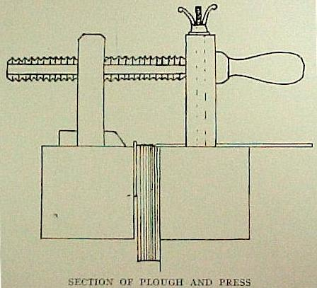 bookbinding plough with book in lying press