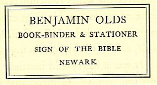BENJAMIN OLDS BOOK-BINDER & STATIONER SIGN OF THE BIBLE NEWARK