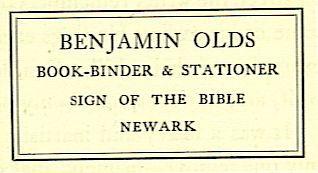 BENJAMIN OLDS BOOK-BINDER & STATIONER SIGN OF THE BIBLE NEWARK